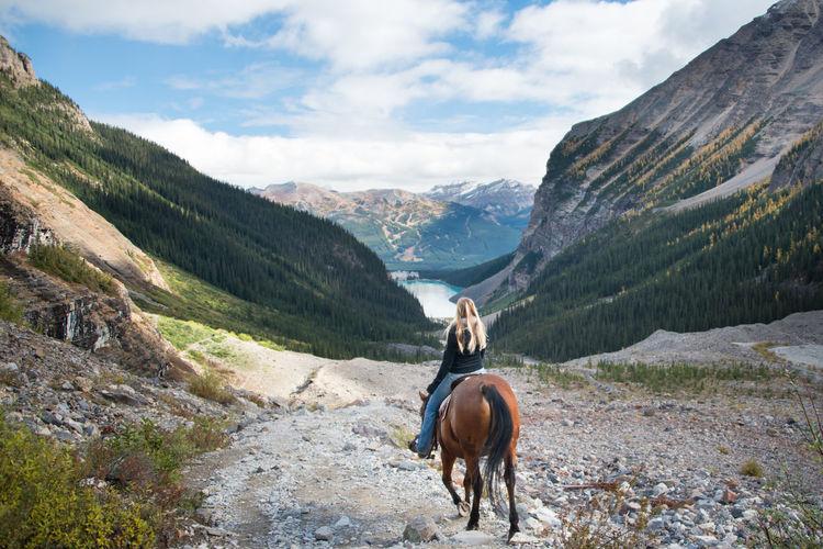 Horse riding horses on mountain landscape