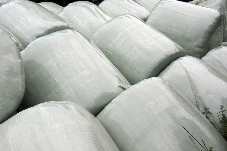 Farm Green Fermentation Fodder Full Frame Large Group Of Objects Outdoors Plastic Sheeting Silage Bales