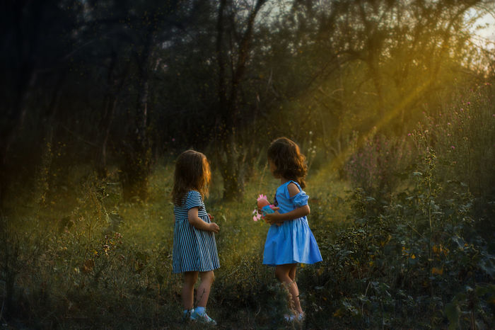 Fairytale  Child Childhood Family Forest Girls Little Ones Nature Outdoors Sister Sunbeam Toddler  Togetherness Tree Two People EyeEmNewHere