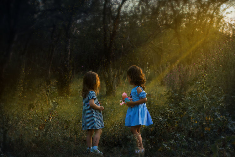 Fairytale  Child Childhood Family Forest Girls Little Ones Nature Outdoors Sister Sunbeam Toddler  Togetherness Tree Two People EyeEmNewHere Human Connection
