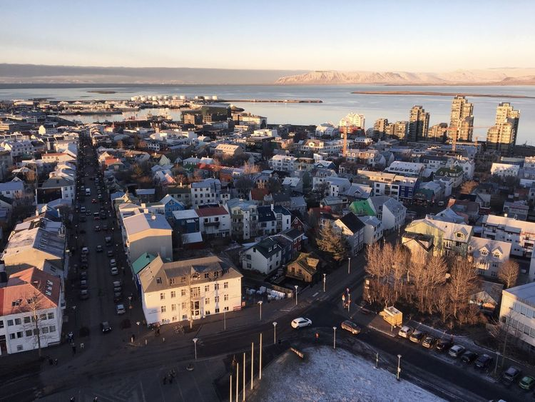 Reykjavik High Angle View Vogelperspektive Arctic Polar  Capital Cities  Iceland Buildings House Church Blue Sky Street Fluchtpunkt Diagonals Horizon Cityscape Dusk City Architecture Sky Tourism Sea Water