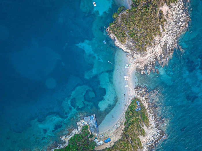 High angle view of sea shore