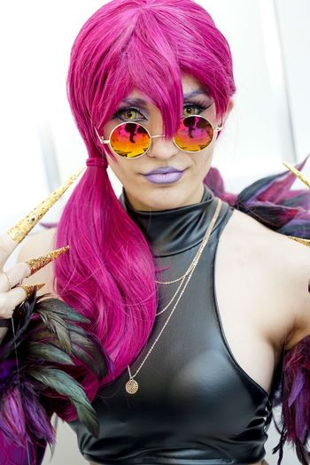 Katsucon 2019 Cosplaygirl Cosplayer Cosplay Katsucon Katsucon 2019 One Person Real People Women Leisure Activity Lifestyles Dyed Hair Portrait Front View Make-up Costume Young Women Fashion Looking At Camera Purple