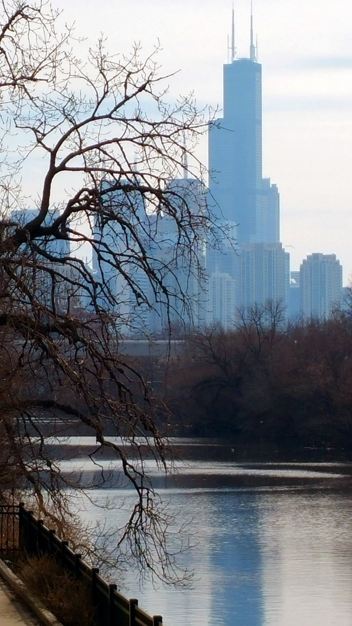 architecture, built structure, tree, building exterior, bare tree, sky, no people, outdoors, reflection, water, nature, day, lake, winter, skyscraper, branch, city, beauty in nature