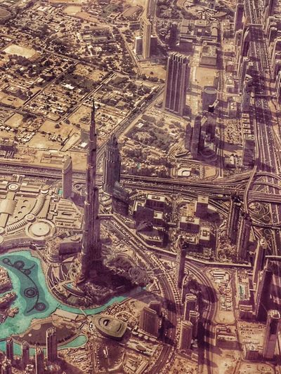 Dubai Skyscraper Aerial View Desert UAE Burj Khalifa Burjkhalifa Motorway Wtc Dubai Check This Out EyeEm Best Shots No People Landscape Color Palette Colour Of Life What's On The Roll A Bird's Eye View Flying High Flying High