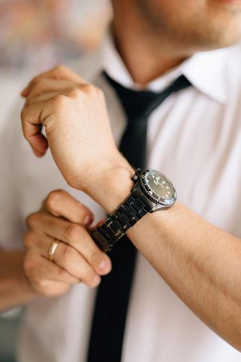 Man wearing wrist watch