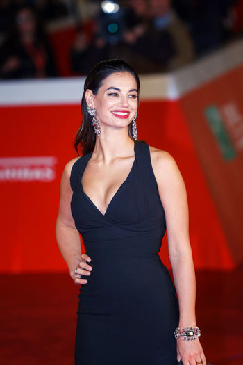Rome, Italy - October 13, 2016: Francesca Chillemi walks a red carpet. Actress Adult Adults Only Arts Culture And Entertainment Chillemi Francesca Chillemi Italian Actress Model Model Pose One Person One Woman Only Only Women People Portrait Red Carpet Event Smile