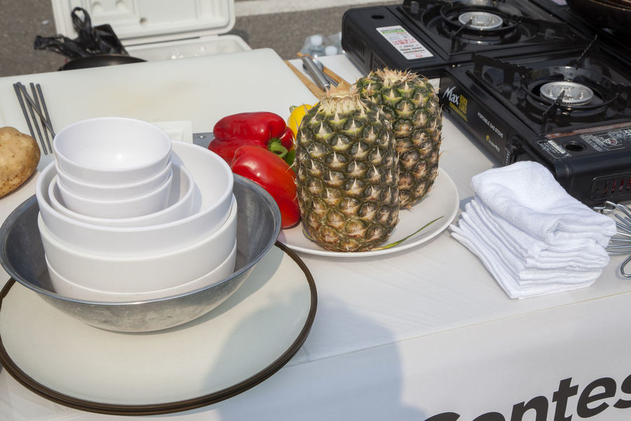 preparing for cooking Bowl Burner Choice Close-up Day Dish Food Food And Drink Freshness Horizontal Indoors  No People Paprica Pineapple Plate Towel Variation