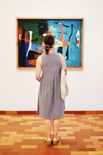 Rear View One Person Leisure Activity Real People Museum Artist Fine Art Painting Painted Image Full Length Women Indoors  Adult Barcelona SPAIN España Miró  Day