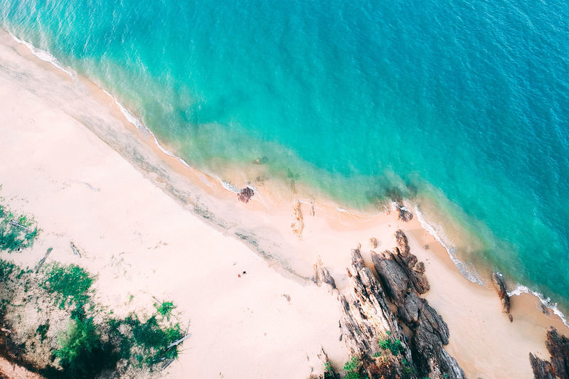 Land Water Beach Beauty In Nature Sea High Angle View Turquoise Colored Nature Scenics - Nature Day Sand Tranquility Travel Destinations Tranquil Scene Idyllic Outdoors Sunlight Motion No People Hot Spring Power In Nature