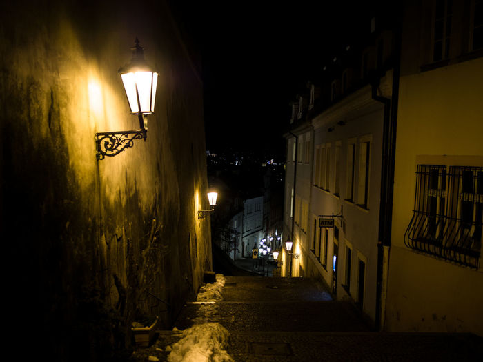 Prague Czech Republic Trip Journey Travel Illuminated Street Architecture City Night Lighting Equipment Built Structure Building Exterior Street Light Building No People Direction The Way Forward Alley Residential District Electric Lamp Narrow Communication Dark Road Light