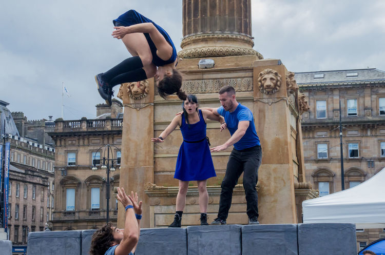 Block, performed by Motionhouse. From the 2016 Merchant City Festival Acrobat Arts Block City Dance Dancers Flip George Square Glasgow  Ground Merchant City Festival Midair Motionhouse People Performance Pillar Portraits Scotland Shock Trooper Woman My Year My View