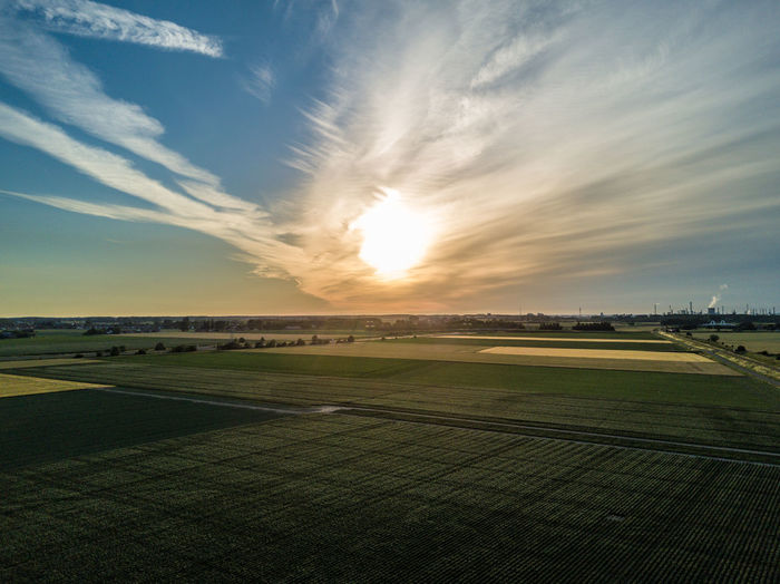 Landscape of Zeeland. Agriculture Agriculture Beauty In Nature Cloud - Sky Copy Space Day Drone  Europe Field Flat Land Holland Horizon Landscape Nature Netherlands No People Outdoors Rural Scene Scenics Sky Sunset Tranquil Scene Tranquility Zeeland  Lost In The Landscape