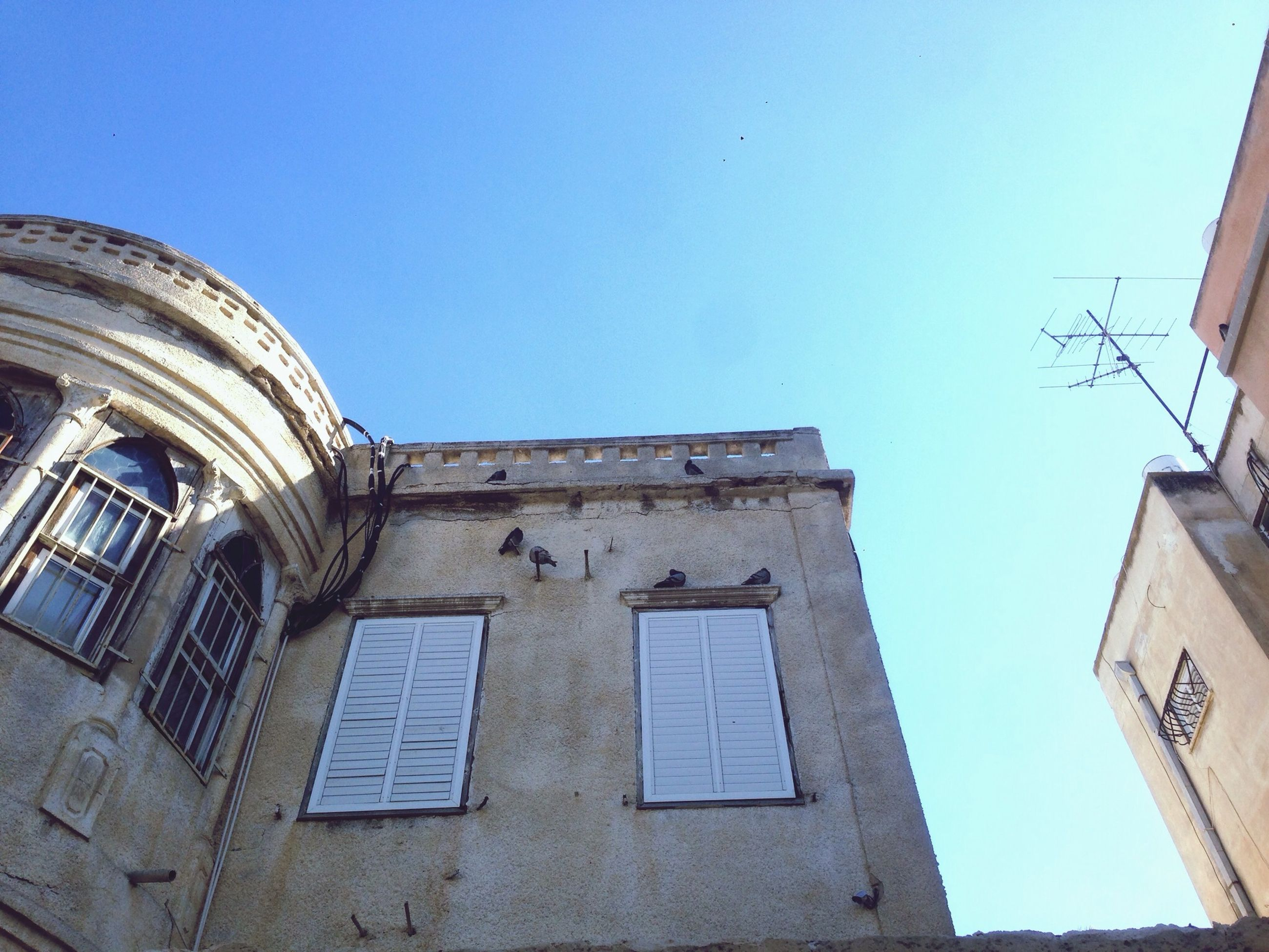 architecture, building exterior, low angle view, built structure, clear sky, blue, window, high section, building, copy space, day, outdoors, church, no people, sunlight, old, residential structure, sky, city, residential building