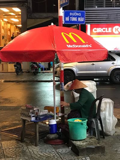 Fast Food MacDonald Macdonalds Macdonald's City Architecture Umbrella Communication Sign Transportation Protection Street Night Business Food And Drink