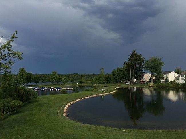 Storm front, pond, Grey, clouds, dark clouds.