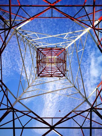 EyeEm EyeEmNewHere Geometric Girder Electricity Pylon Sky Cloud - Sky Electrical Grid Power Line  Electricity Tower High Voltage Sign