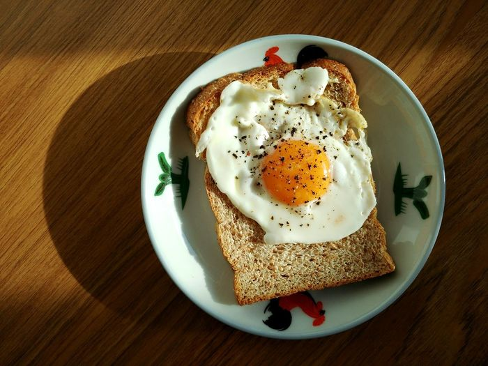 Directly above shot of fried egg on bread in plate at wooden table
