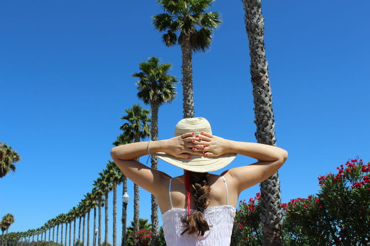Rear view of young woman standing by palm tree against blue sky