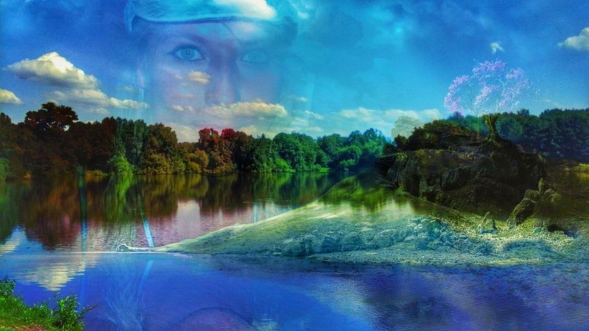 😄☺😉😏📷 Reflection Water Cloud - Sky Outdoors Tree Sky Nature Beauty In Nature Blue One Woman Only HelloEyeEm EyeEmNewHere Eyem Select One Person High Angle View Close-up Day Backgrounds Tranquil Scene Real People Tranquility Adults Only Idyllic 😃funny