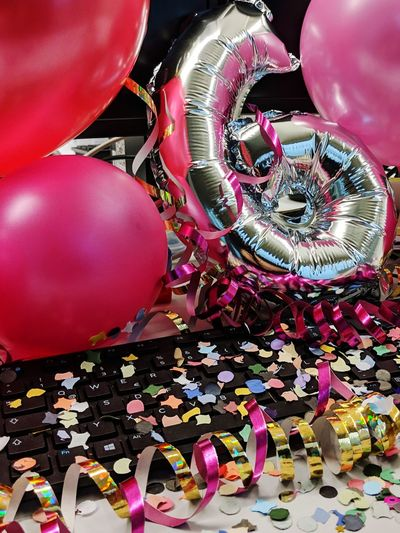Multi Colored Balloon Party - Social Event Confetti Red Celebration Females Arts Culture And Entertainment Close-up Helium Balloon