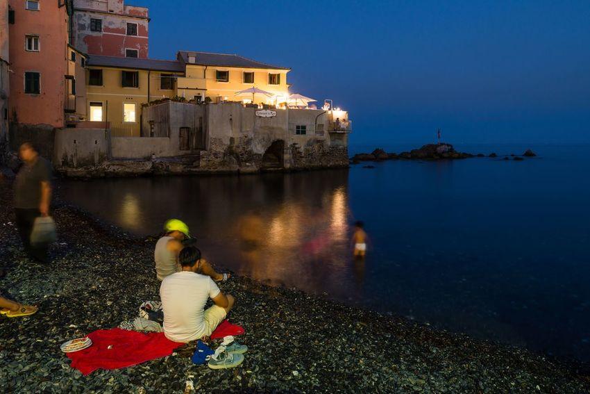 Cities At Night Genova Liguria Liguria,Italy Ligurian Coast. Little Harbour Sea At Night Seaside_collection