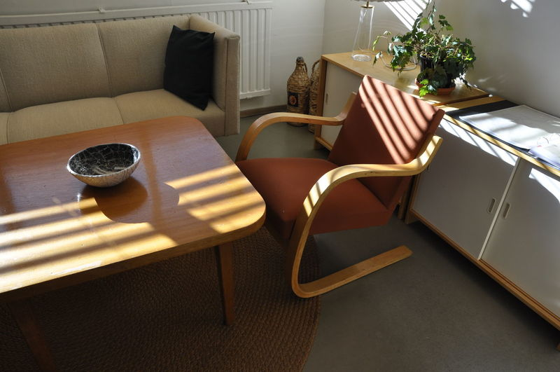 Aalto House Absence Chair Coffee Table Day Domestic Room Empty Flooring Furniture High Angle View Home Home Interior Indoors  Living Room Luxury Nature No People Seat Shadow Sofa Sunlight Table Window