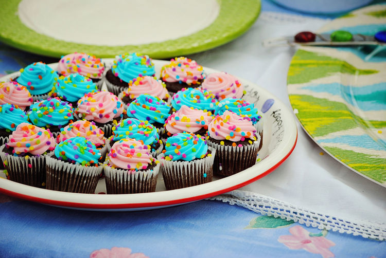 Close-Up Of Cupcakes In Plate On Table