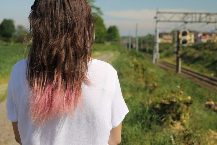 Rear view of girl with dyed hair