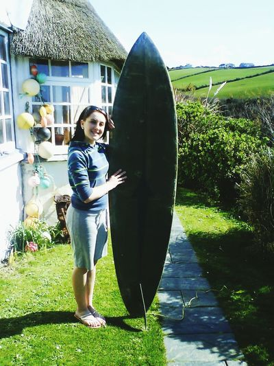 Surfer Girl Devon Natural Country Girl Countryside Thatched Roof Thatch Smile Happy Freedom Surfing Recreation  Green Lush Holiday Slim Summer Country Life Country Devon UK Teen Teenager Surf's Up