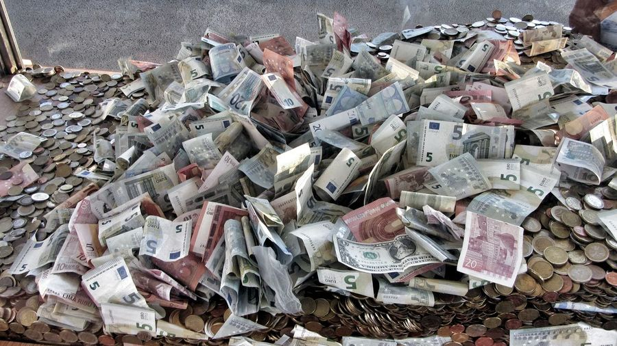 High Angle View Of Money On Table