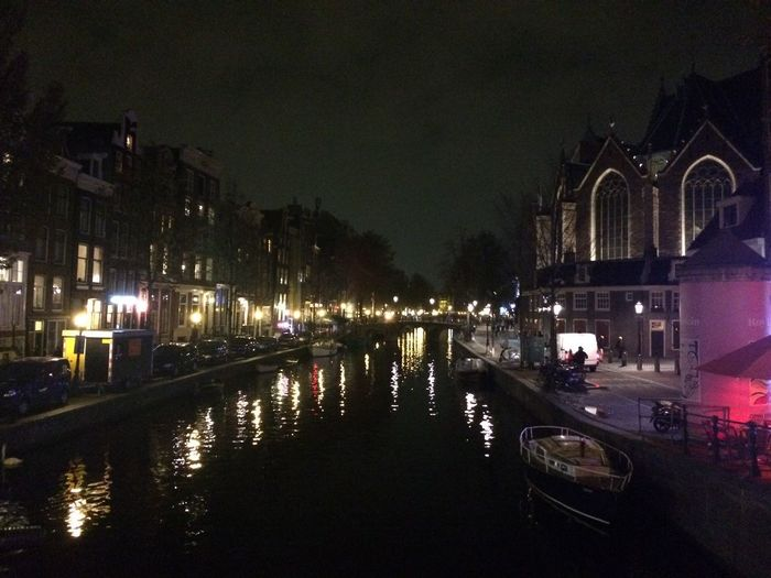 Night Illuminated Architecture Built Structure Building Exterior Mode Of Transport Transportation Water City Outdoors Sky No People Red Light District Quality Time Lifestyles Amsterdam Canal