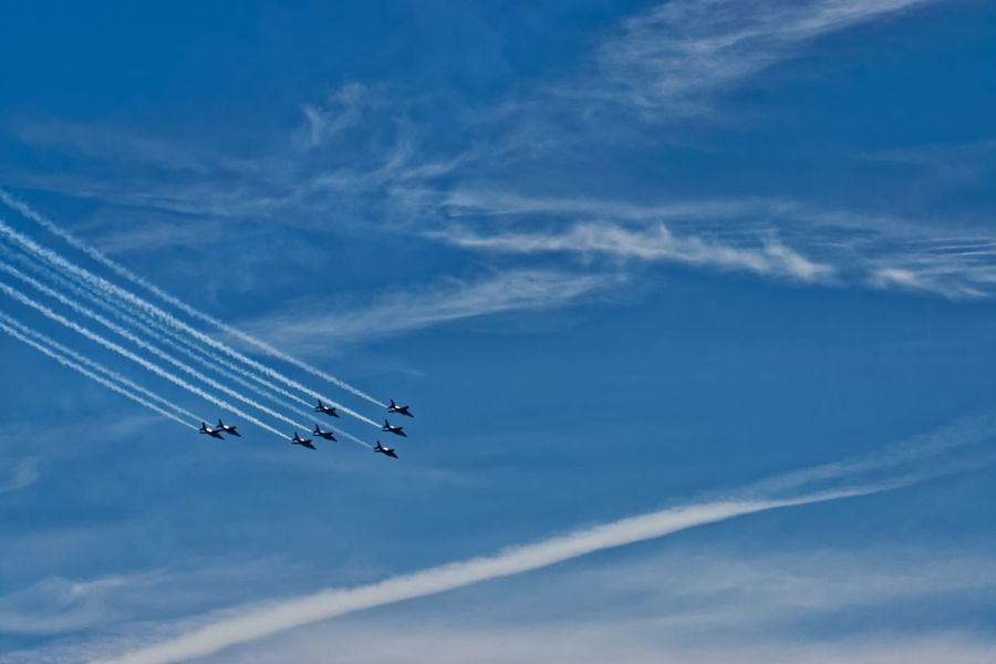 "Aircraft Airshow Military Sky Patrouilledefrance EyeEm Best Shots French ""Patrouille de France"" at the airshow above Marseille on August 15, 2015."