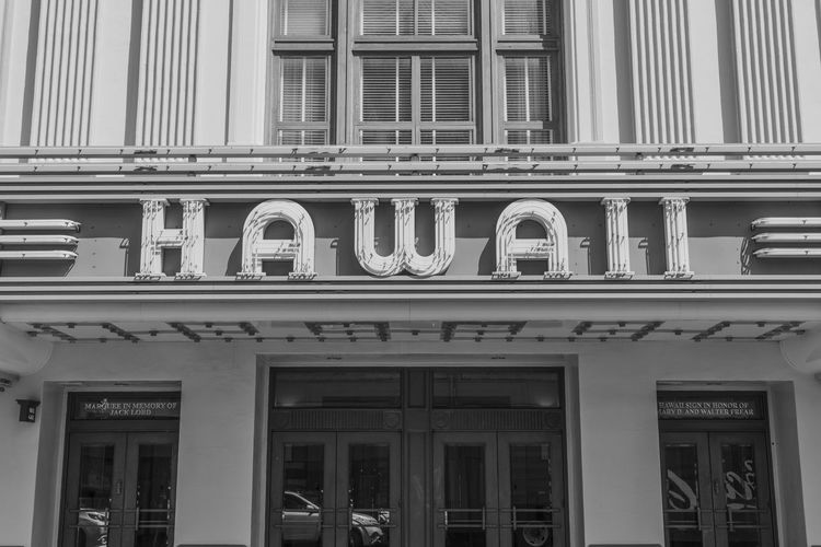Hawaii Hawaii Theatre Architecture Black And White Building Building Exterior City Day Façade History No People Sign