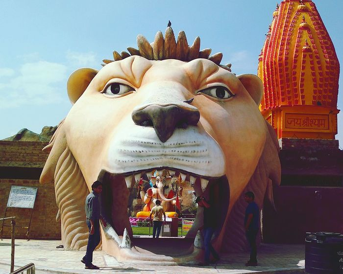 Sculpture Lion Temple Religion Ganesha Rajasthan India Large Size Bigger Than You Think Jaw Lion Teeth Enterance Main Entrance Enter The Paradise  Inside Things Inside The Mouth Look Inside Open Mouth Colors Here Belongs To Me People And Places. Incredible India Incredibleindia