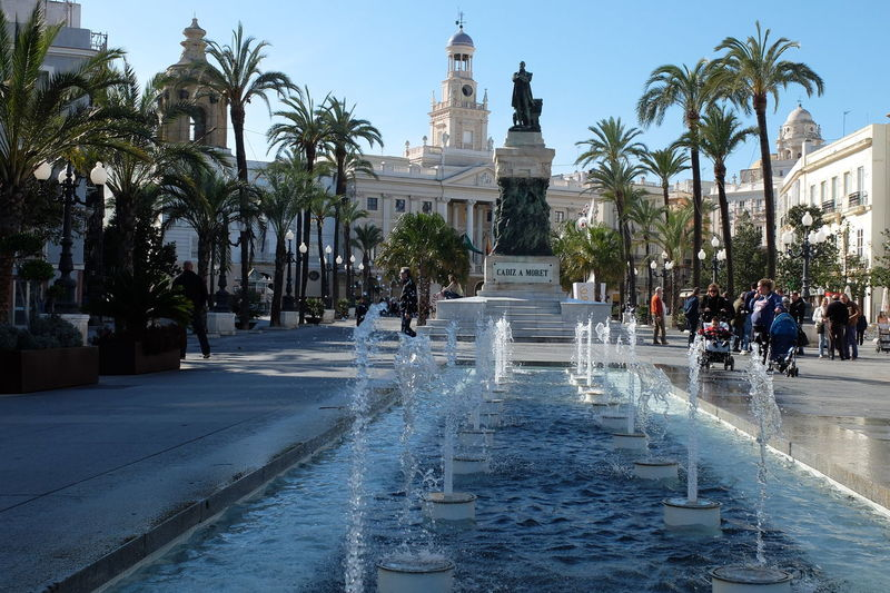 downtown Architecture Building Exterior Cadiz Cadiz Center City Fountain No People Outdoors Palm Tree Politics And Government Sculpture Statue Travel Destinations Water