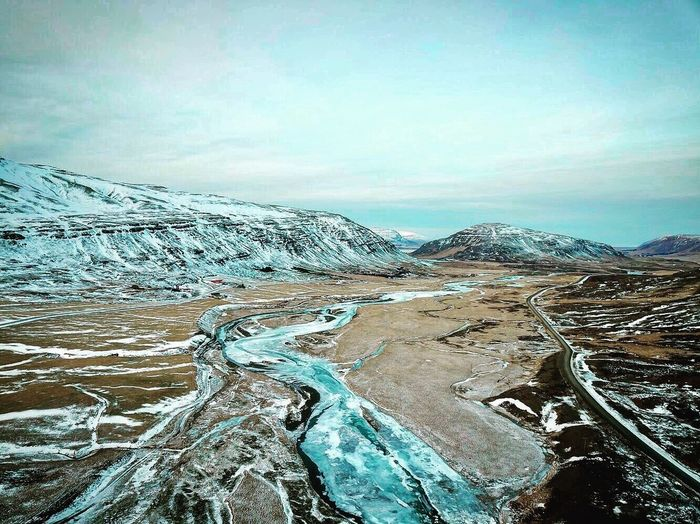 Iceland, DJI Mavic Pro Beautiful Nature Clouds River Ice Djimavicpro Winter Iceland Day Sky Cold Temperature Snow