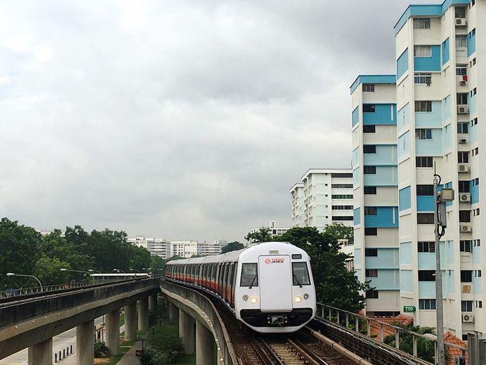 Transportation Train - Vehicle Mode Of Transport Cloud - Sky No People Modern Subway Station Subway Train Mrt Station Singapore