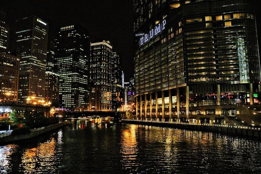 Be. Ready. Building Exterior Architecture Night Illuminated Built Structure City Skyscraper Modern Travel Destinations Outdoors Water Cityscape No People Sky Reflection Night Lights Trump Tower Lights Chicago Nightphotography Colorful Black Yellow