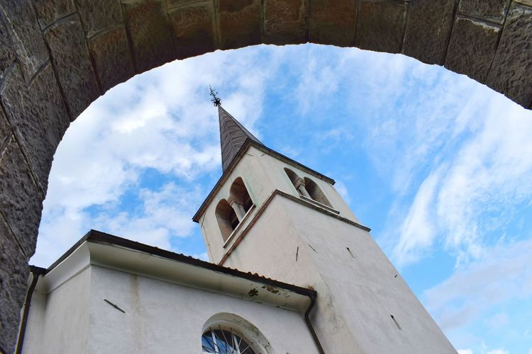 Caporetto Clock Face Clock Place Of Worship Spirituality Religion History Sky Architecture Building Exterior Built Structure Bell Tower - Tower Cross Bell Steeple Church Crucifix Catholicism Christianity Clock Tower Bell Tower