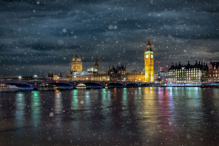 The Westminster Bridge and Big Ben cloktower at the river Thames in London during winter time with snowfall Big Ben London United Kingdom Weather Winter Architecture Bridge - Man Made Structure Building City Cityscape Close-up Cold Temperature Government Illuminated Night Reflection River Sky Snow Snowflakes Tourism Tower Travel Water Waterfront