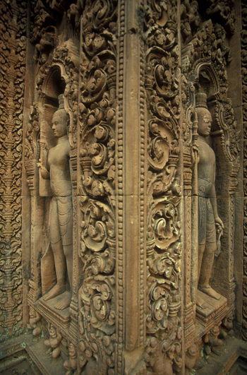 Full frame shot of carvings on wall