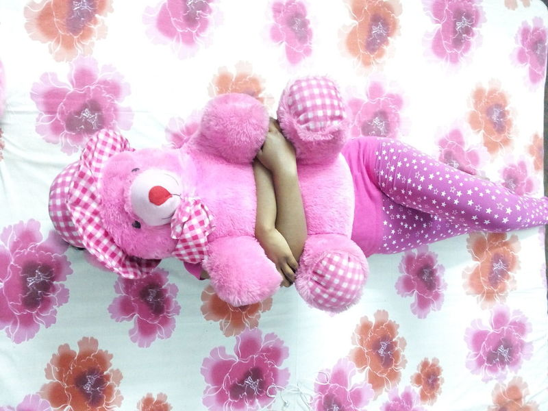 Purple Pink Color Day Sideways Face Covered Face Hidden Millennial Pink Pink Outfit One Person Hands Girl Teddy Hugging Lying Down Lying On Back