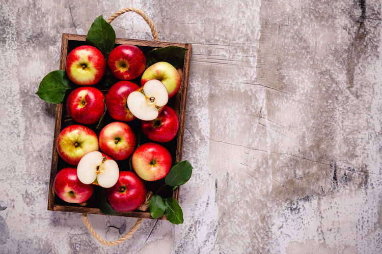 Directly above shot of apples in container