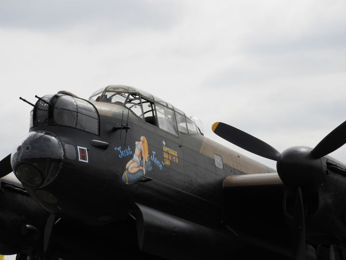 """Avro lancaster NX611 """"Just Jane"""" Avro Lancaster Bomber Command Copy Space EyeEm Selects Just Jane WWII Planes Aerospace Industry Air Force Air Vehicle Airplane Close-up Cockpit Dambusters Day Fighter Plane Flying Military Military Airplane Mode Of Transportation No People Outdoors Plane Sky Transportation Travel"""