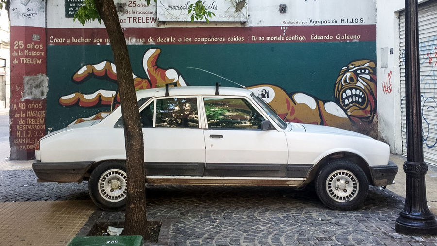 Car Transportation Mode Of Transport Land Vehicle Day Outdoors No People Mural Street Art Memorial Trelew Buenos Aires, Argentina  Nokia 808 Pureview
