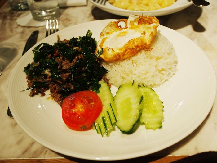 Thaifood Thailand Stir-fried Meat With Basil And Fried Egg With Rice Basil Rice Fried Egg Spicy Food