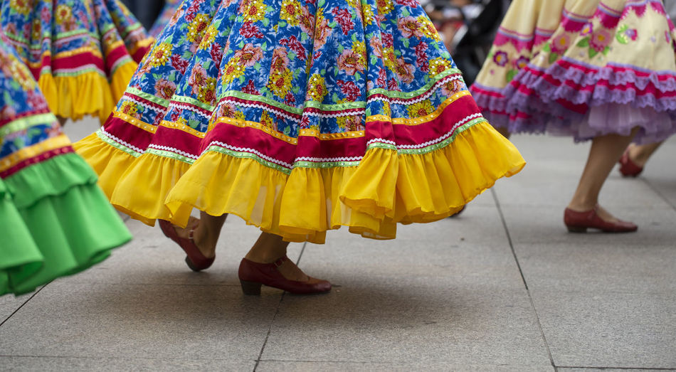 Russian folk dance group Asturias City Horizontal SPAIN Sunny Arts Culture And Entertainment Dancing Folk Folklore Human Leg Lifestyles Low Section Movement Multi Colored Performance Real People Russian Skirt Street Summer Traditional Dancing Women