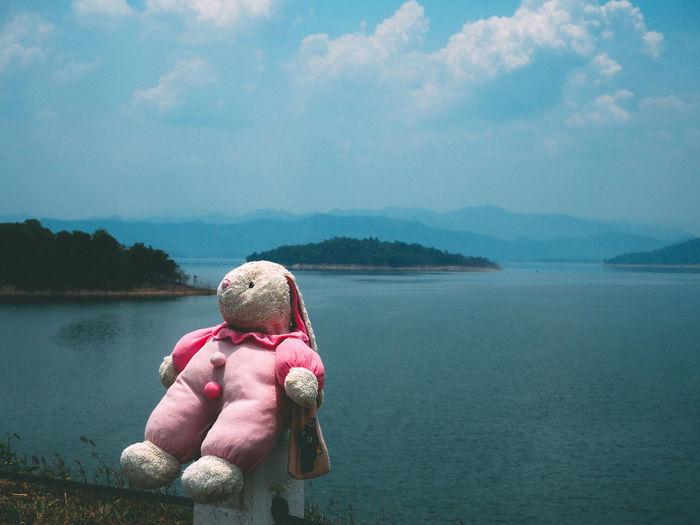 Stuffed toy against lake