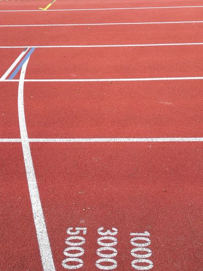 High angle view of sports track